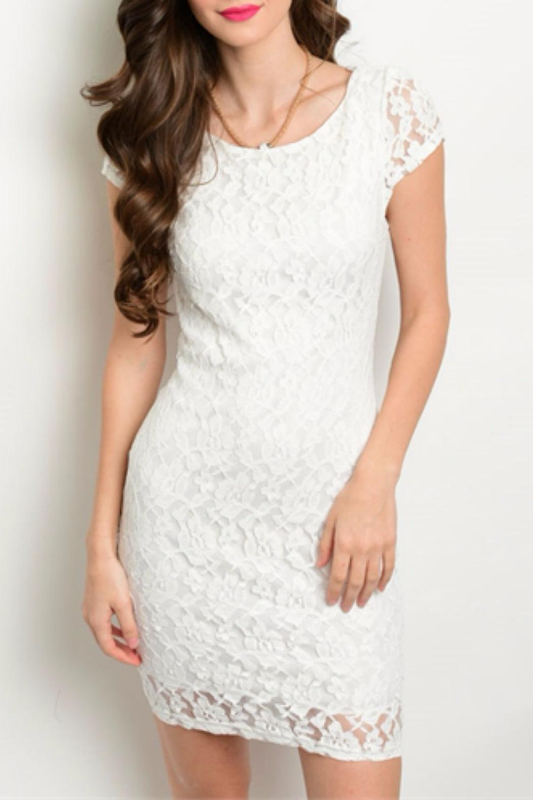 I Love Lace X-Back Dress - Front Cropped Image