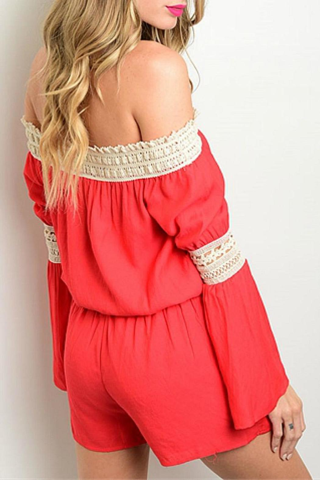 CALS Red Lace Romper - Front Full Image