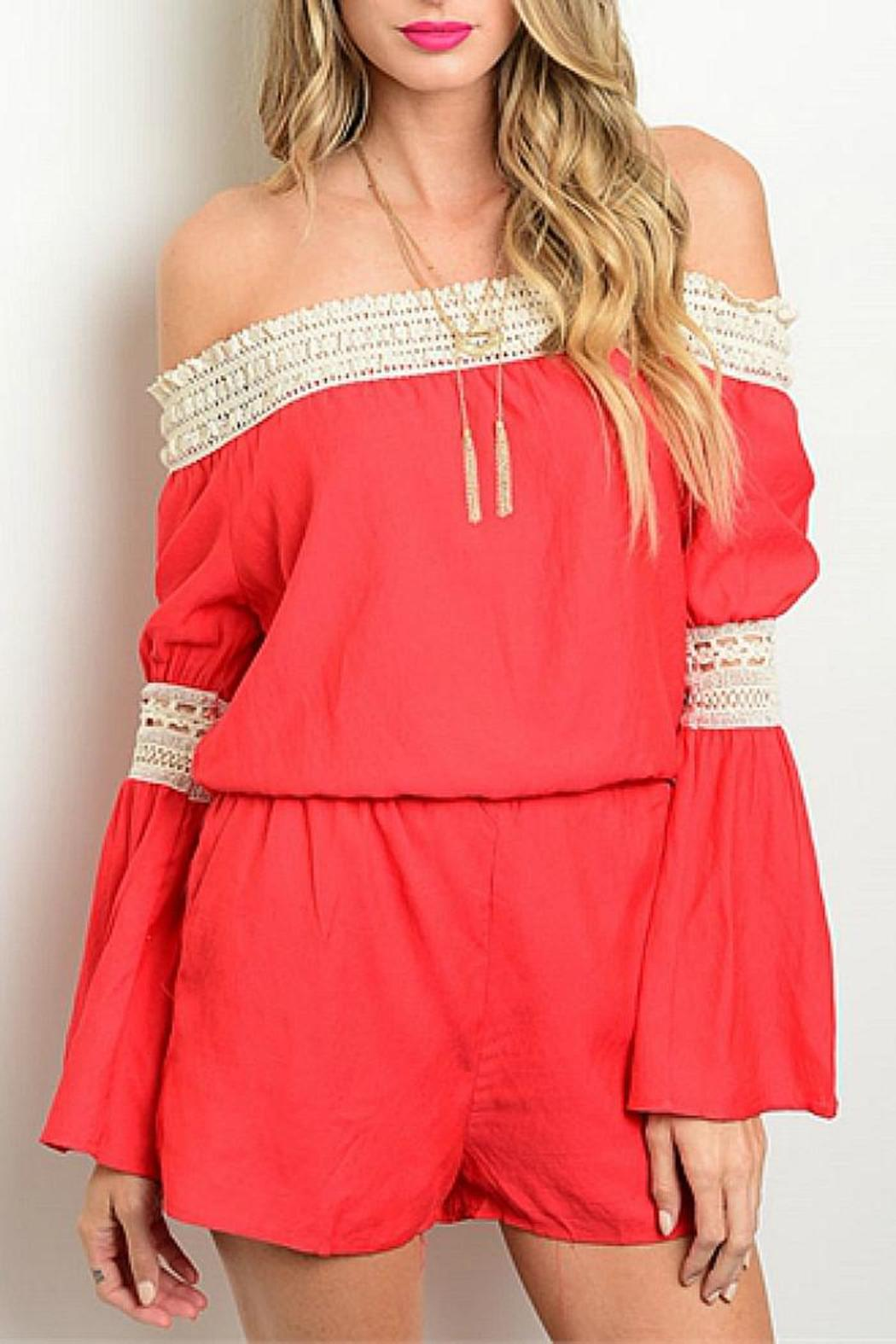 CALS Red Lace Romper - Main Image