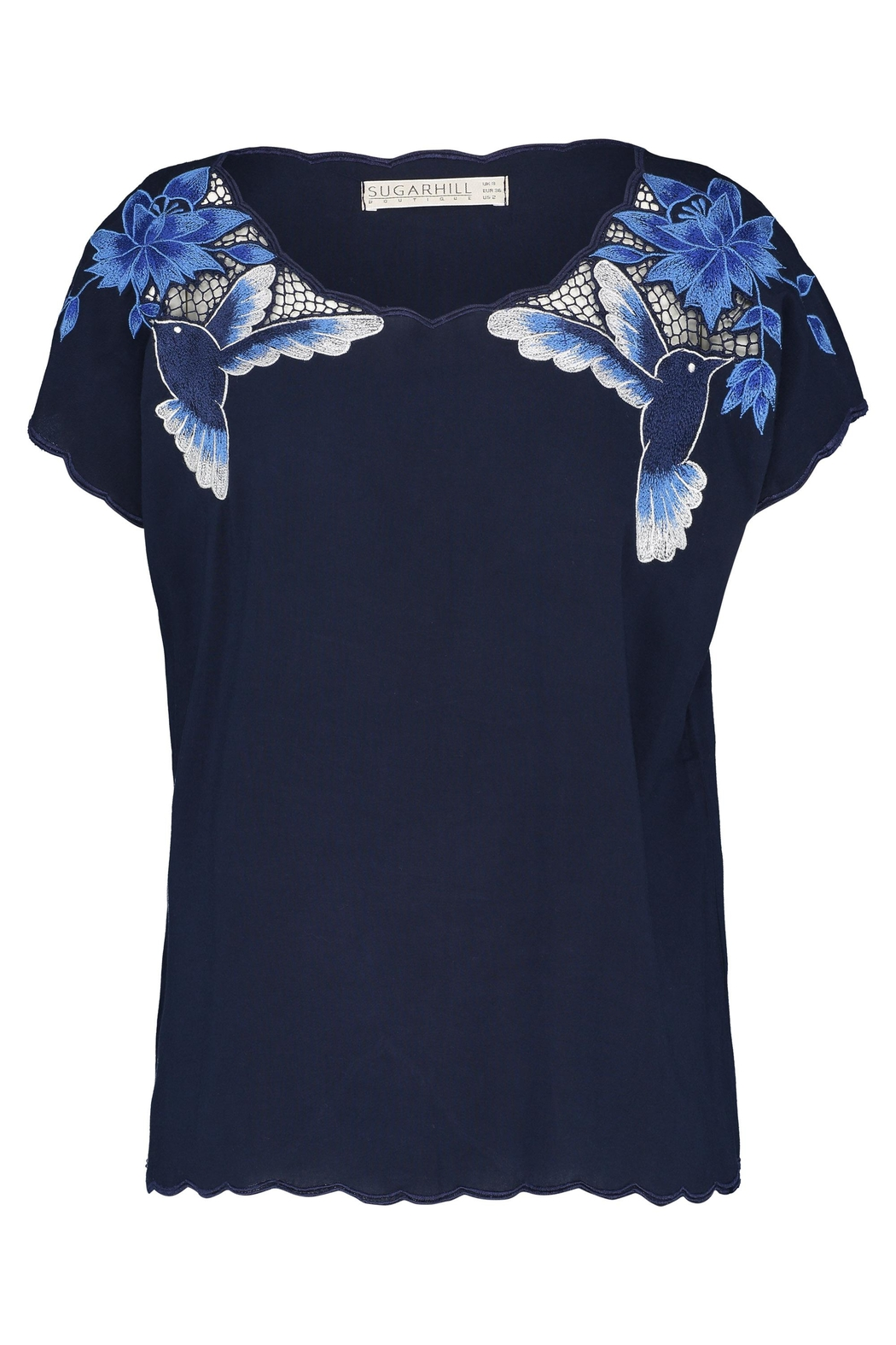 Sugarhill Boutique Hummingbird Cutwork Top - Front Cropped Image