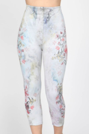 M. Rena Hummingbird Embroidered High Waist Crop Legging - Product Mini Image