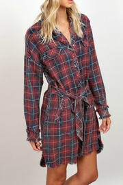 hummingbird Flannel Belted Dress - Product Mini Image