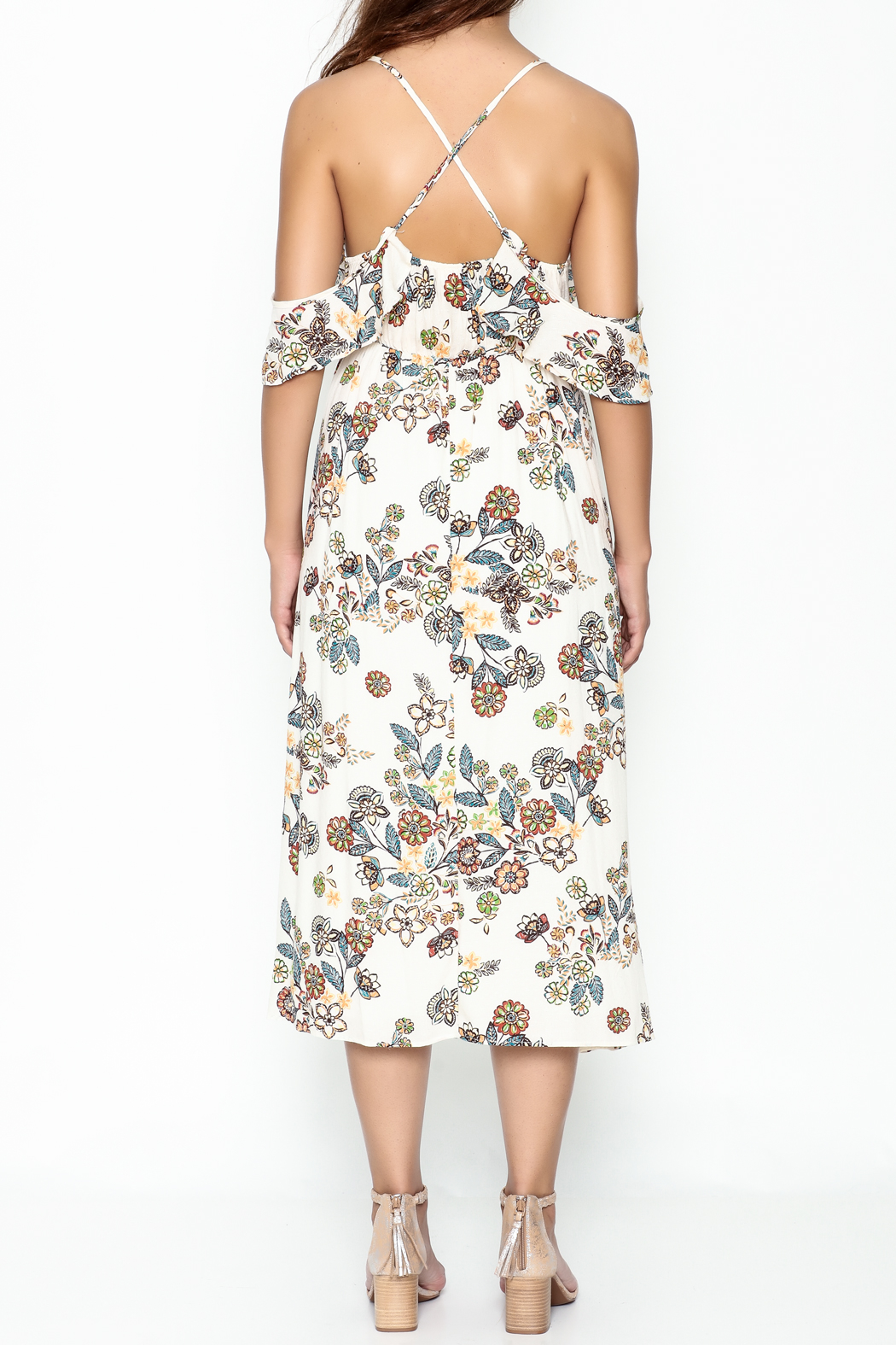 hummingbird Floral Dress - Back Cropped Image