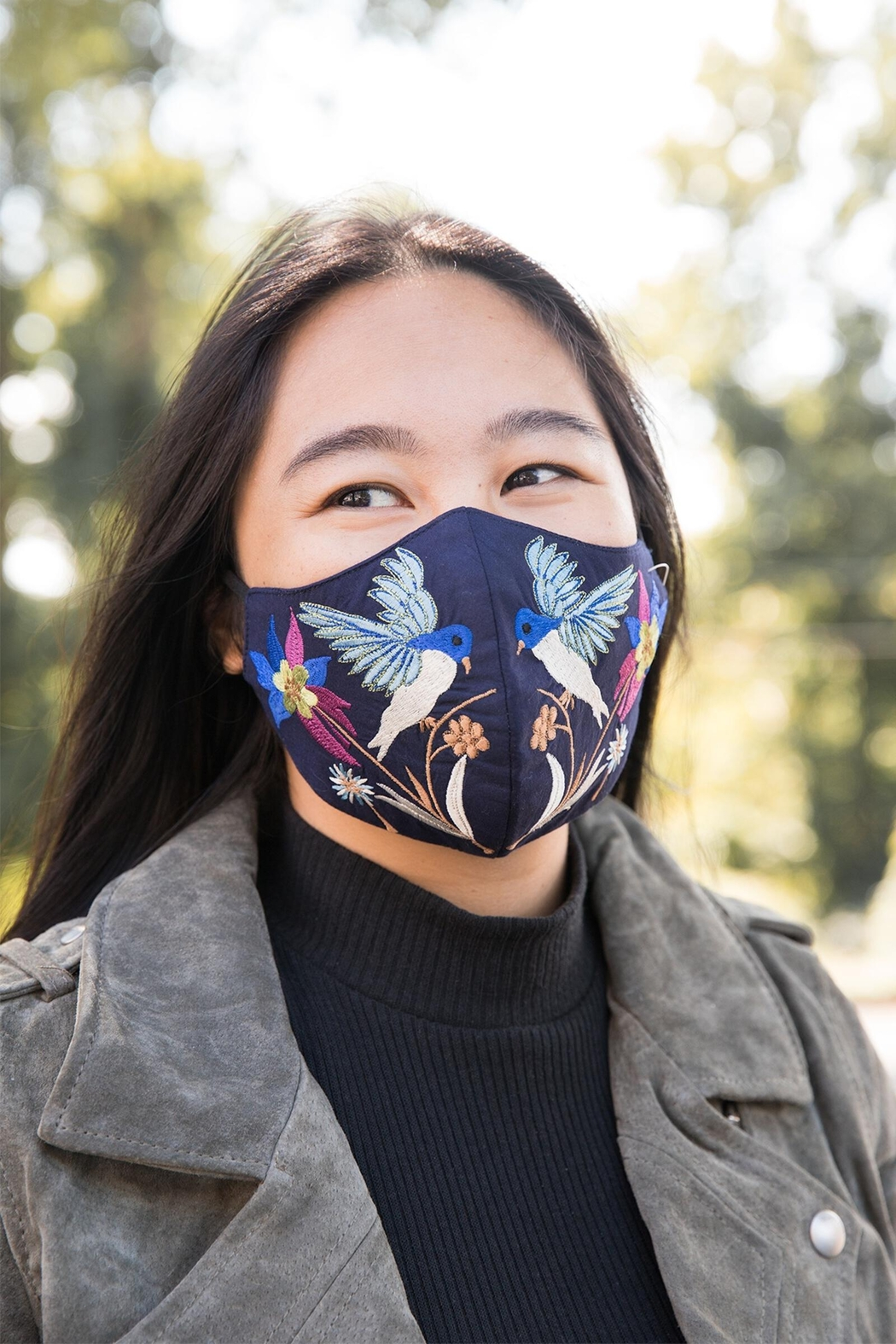 Saachi Hummingbird Hand Embroidered Face Mask - Front Cropped Image