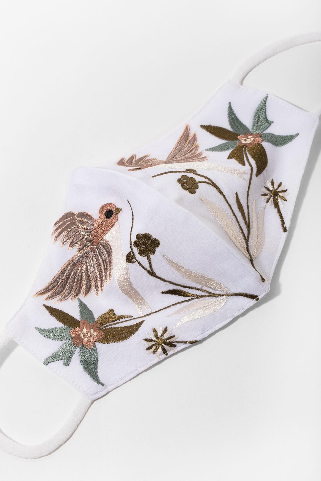 Saachi Hummingbird Hand Embroidered Face Mask - Side Cropped Image