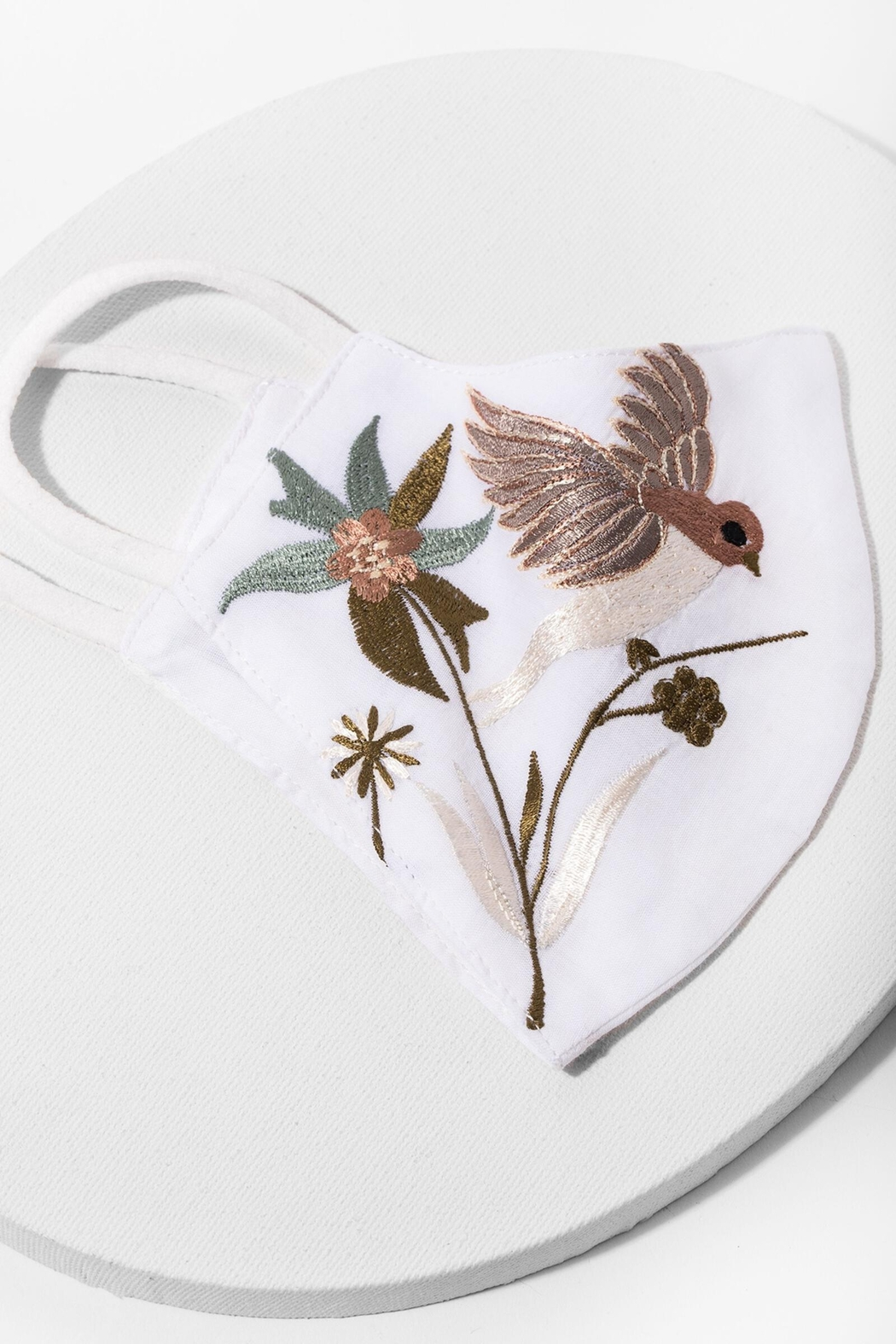 Saachi Hummingbird Hand Embroidered Face Mask - Front Full Image