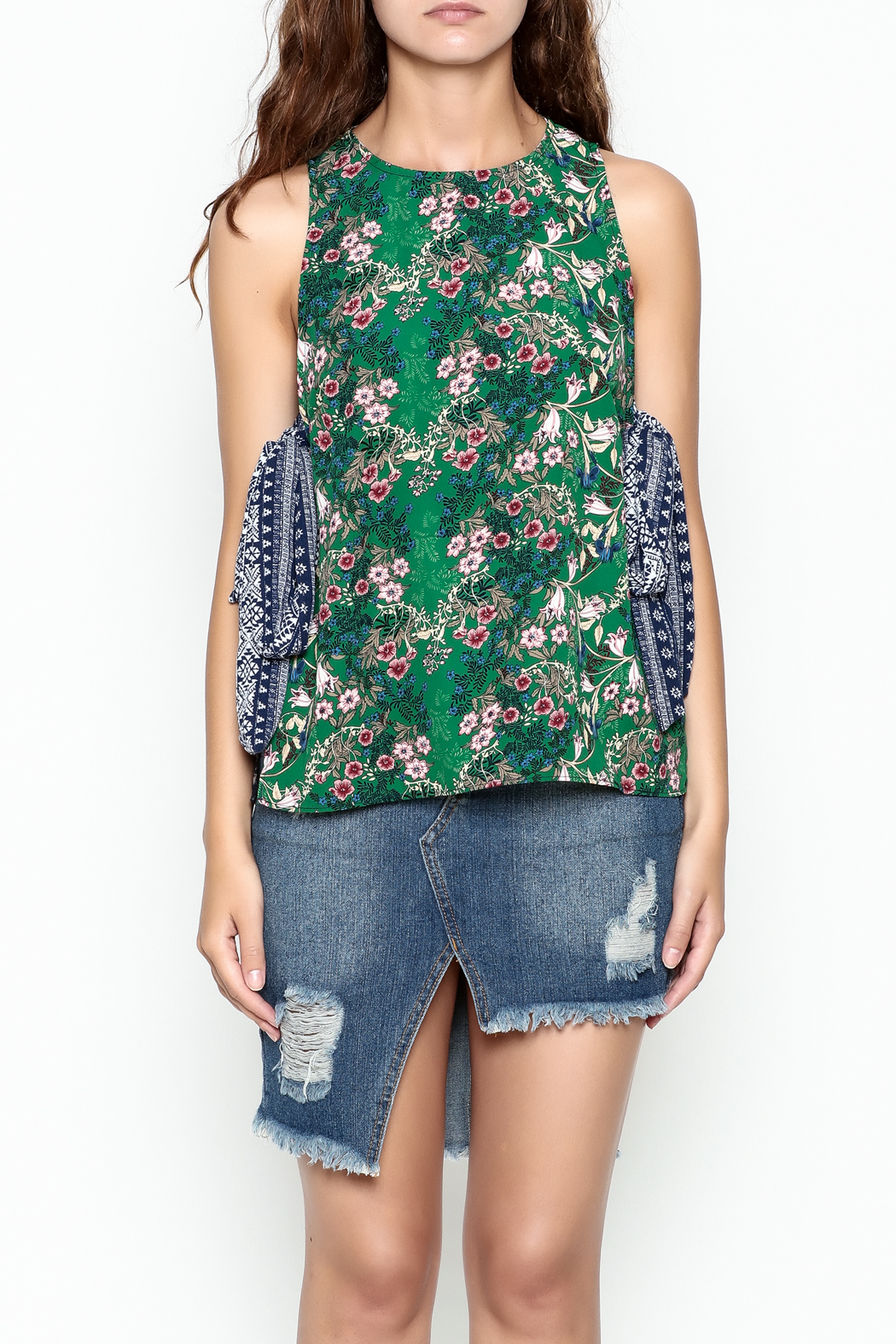 hummingbird Mix Print Top - Front Cropped Image