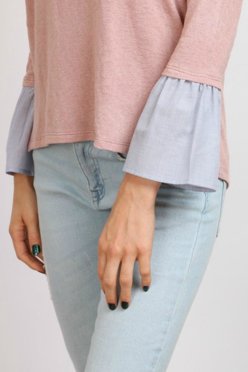 hummingbird Pink Ruffle Sleeve Top - Front Full Image
