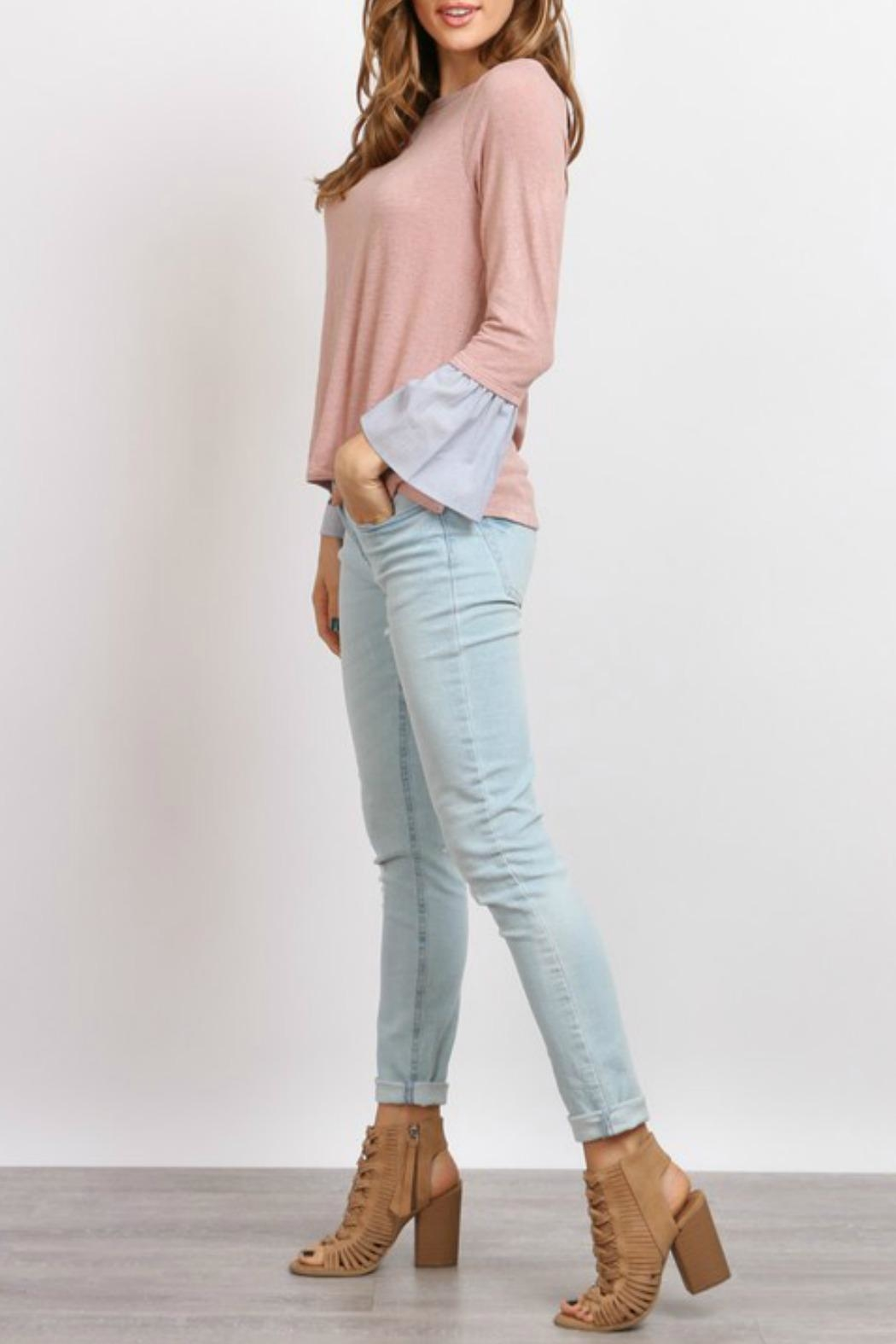 hummingbird Pink Ruffle Sleeve Top - Side Cropped Image