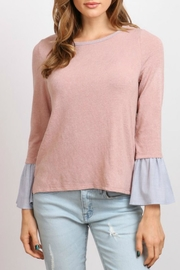 hummingbird Pink Ruffle Sleeve Top - Front cropped