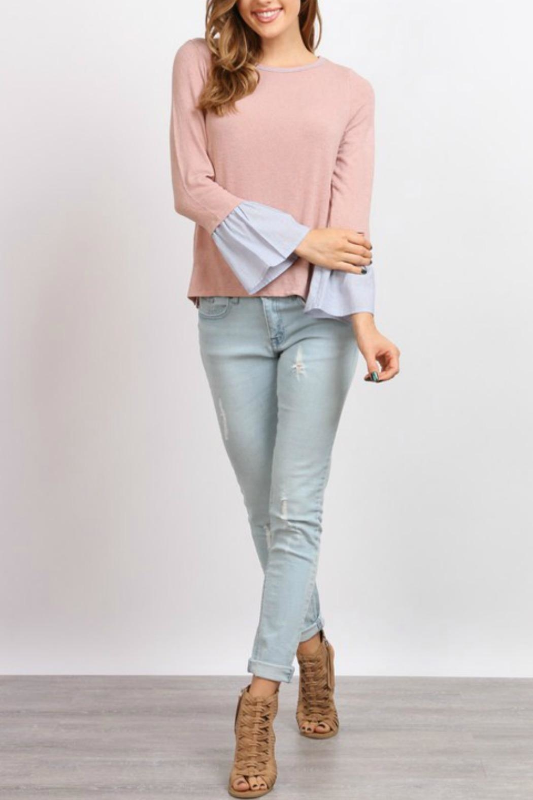 hummingbird Pink Ruffle Sleeve Top - Back Cropped Image