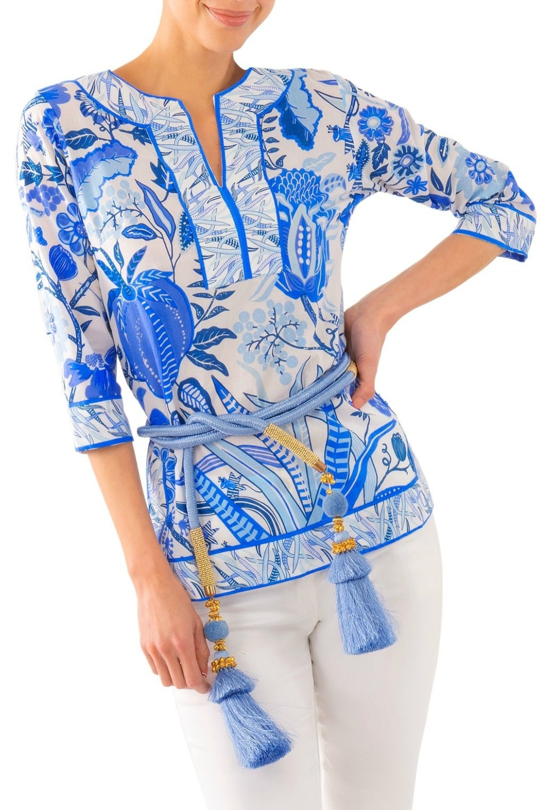 Gretchen Scott Hummingbird Split-Neck Tunic - Front Cropped Image