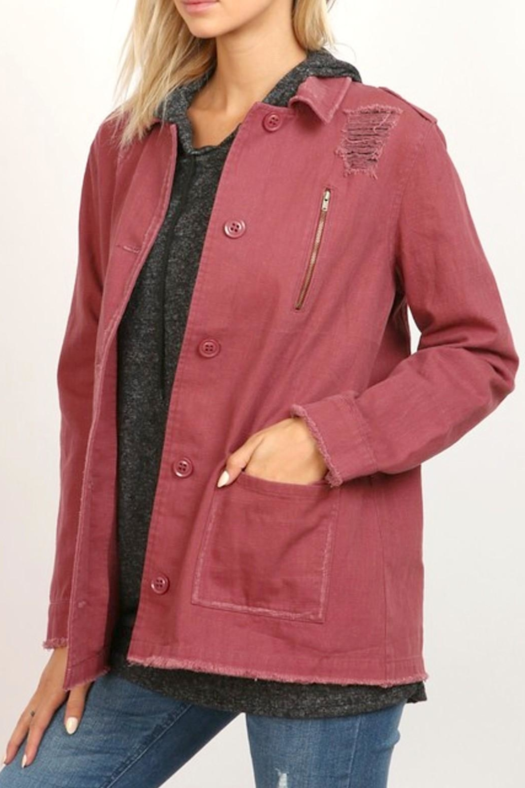 hummingbird Wine Twill Jacket - Front Cropped Image
