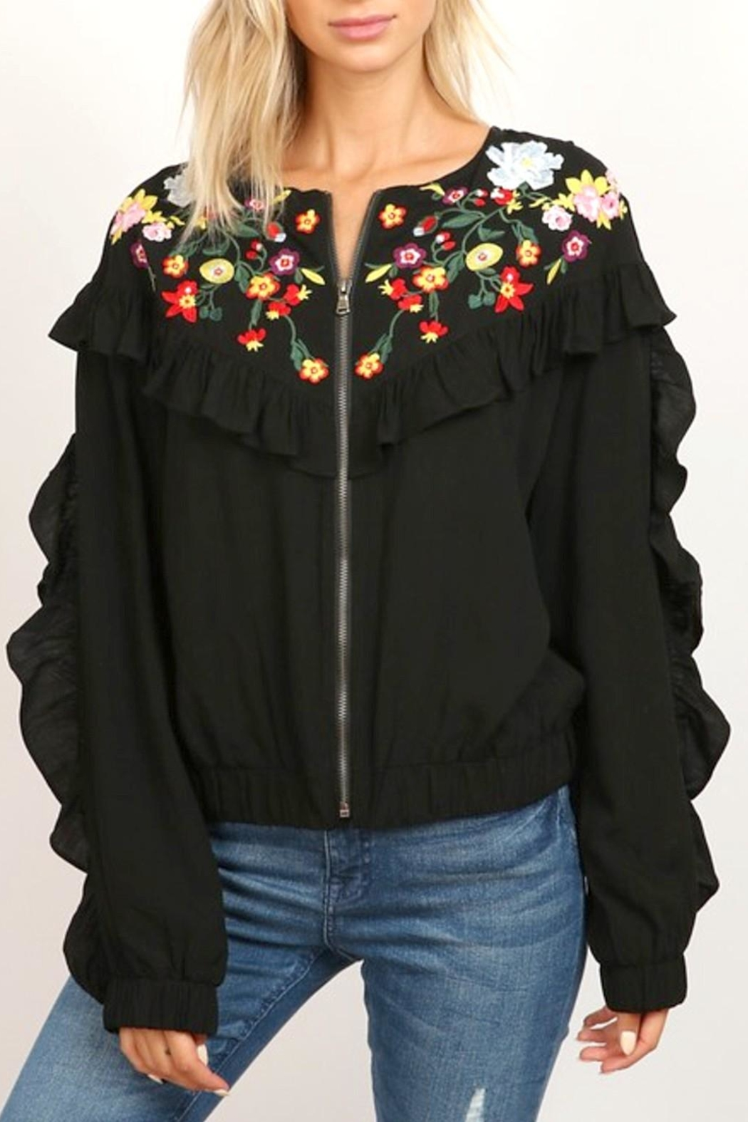 hummingbird Zip Ruffle Jacket - Front Full Image