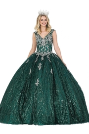 DANCING QUEEN Hunter Green Glitter Ball Gown - Product Mini Image