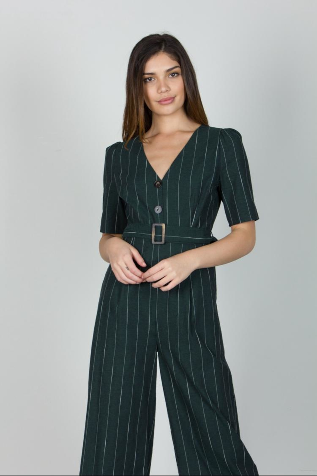 0e7bbb30864e4 essue Hunter-Green Pinstripe Jumpsuit from Los Angeles by Chikas ...