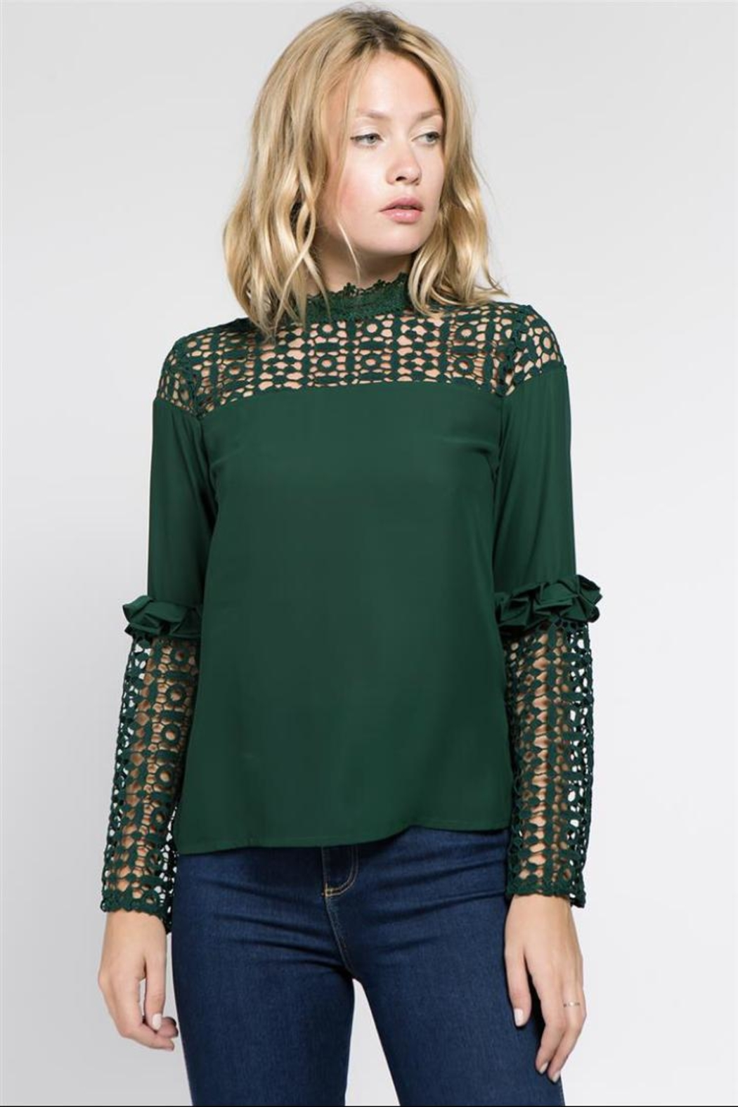 Lulumari Hunter Green Top - Front Cropped Image