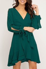 She + Sky Hunter-Green Wrap Dress - Product Mini Image