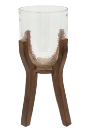 Sagebrook Home HURRICAN WOOD STAND W/GLASS BOWL - Front cropped