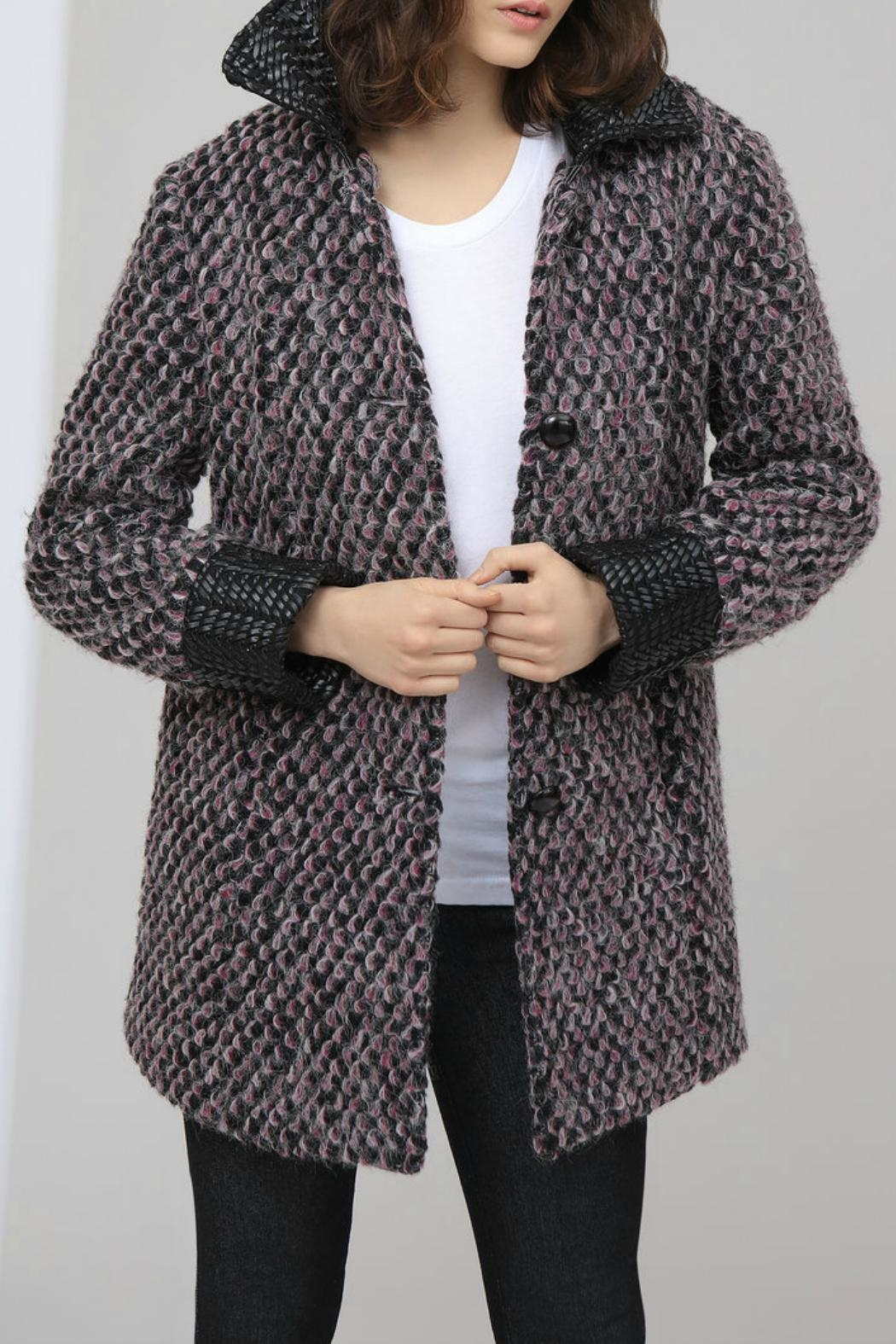 HUTCH Wool Jacquard Coat - Main Image