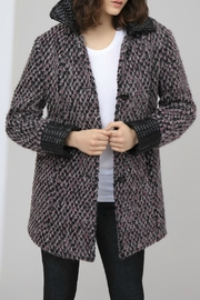 HUTCH Wool Jacquard Coat - Front cropped