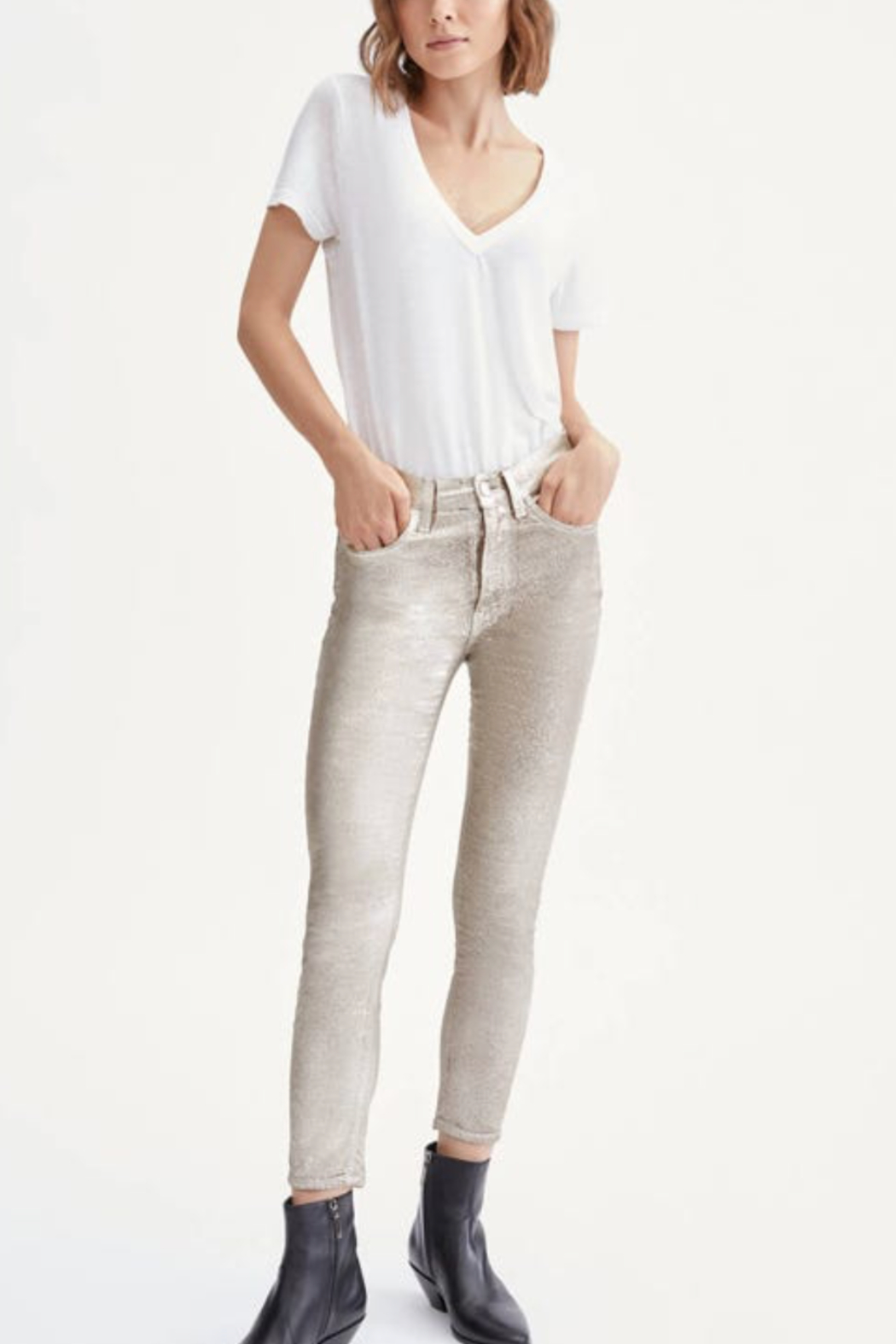 7 For all Mankind HW Ankle Skinny Metallic - Main Image