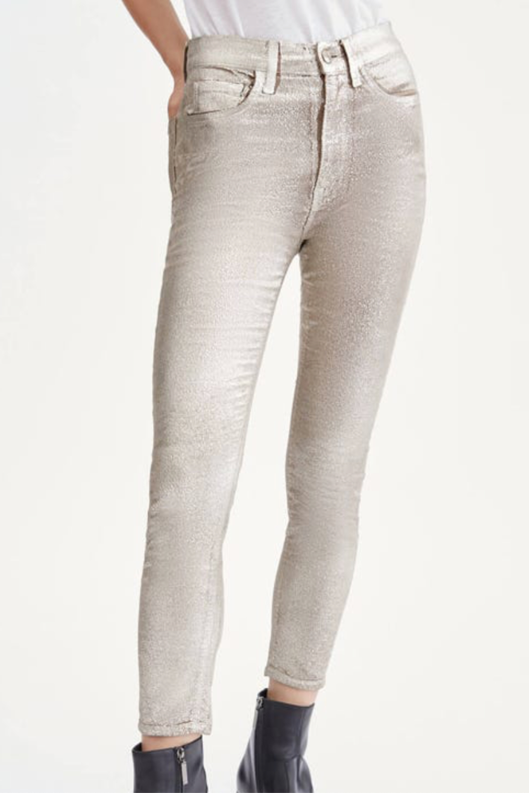 7 For all Mankind HW Ankle Skinny Metallic - Front Cropped Image