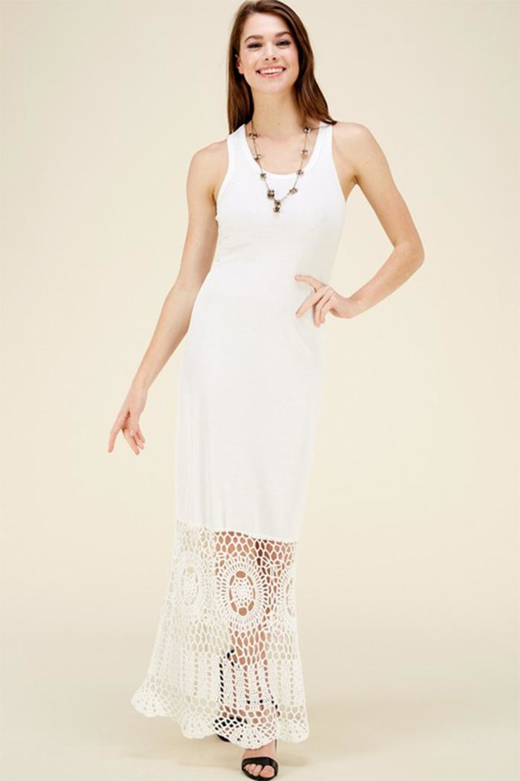 HWA Apparel Lace Bottom Maxi - Front Cropped Image