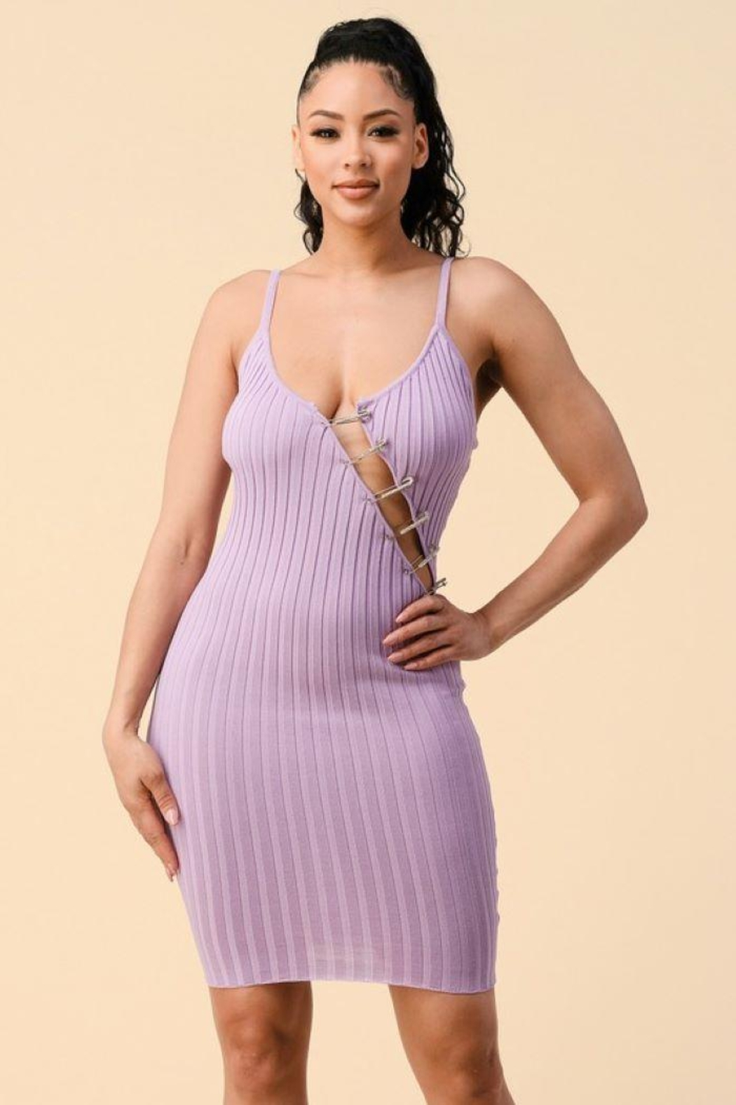 HWA Apparel Rhinestone Pin Cut Out Dress - Front Cropped Image