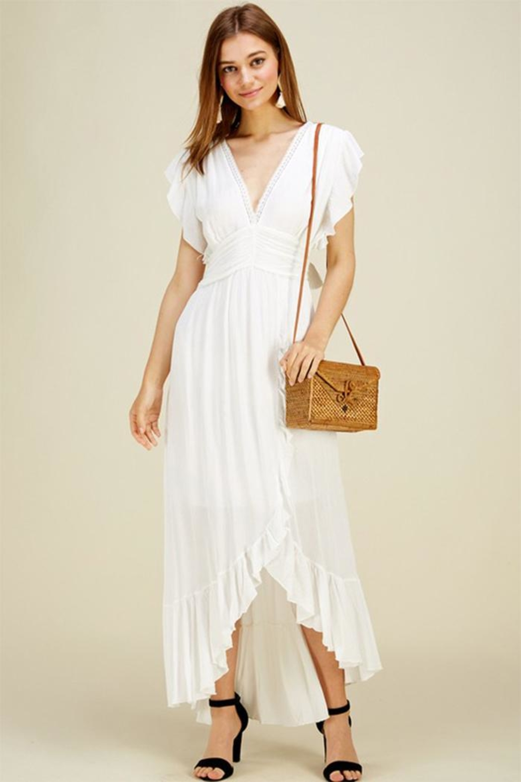 HWA Apparel Ruffle Trim Maxi - Front Cropped Image