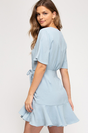 She and Sky Hyacinth Ruched Dress - Front full body