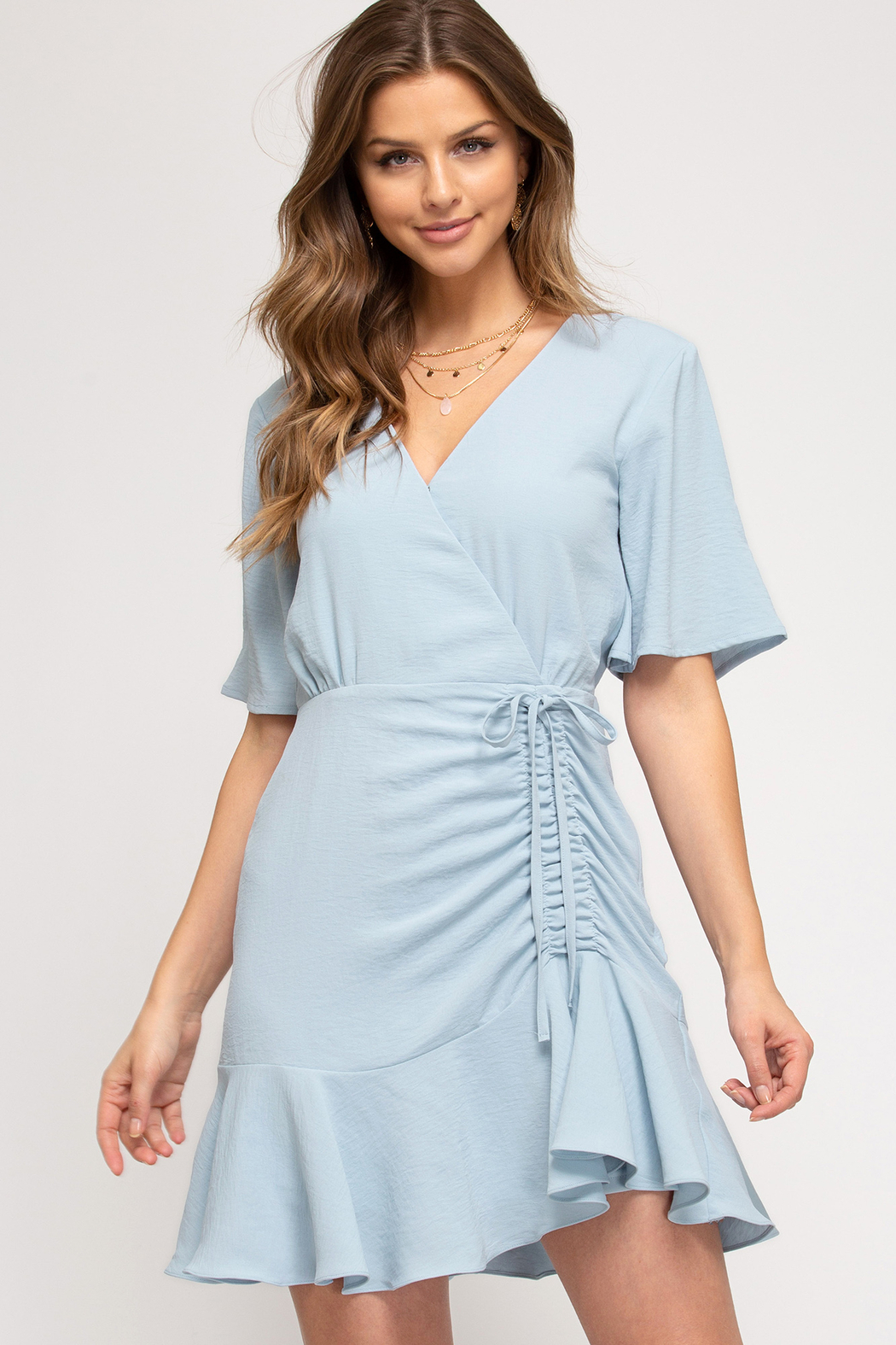 She and Sky Hyacinth Ruched Dress - Front Cropped Image