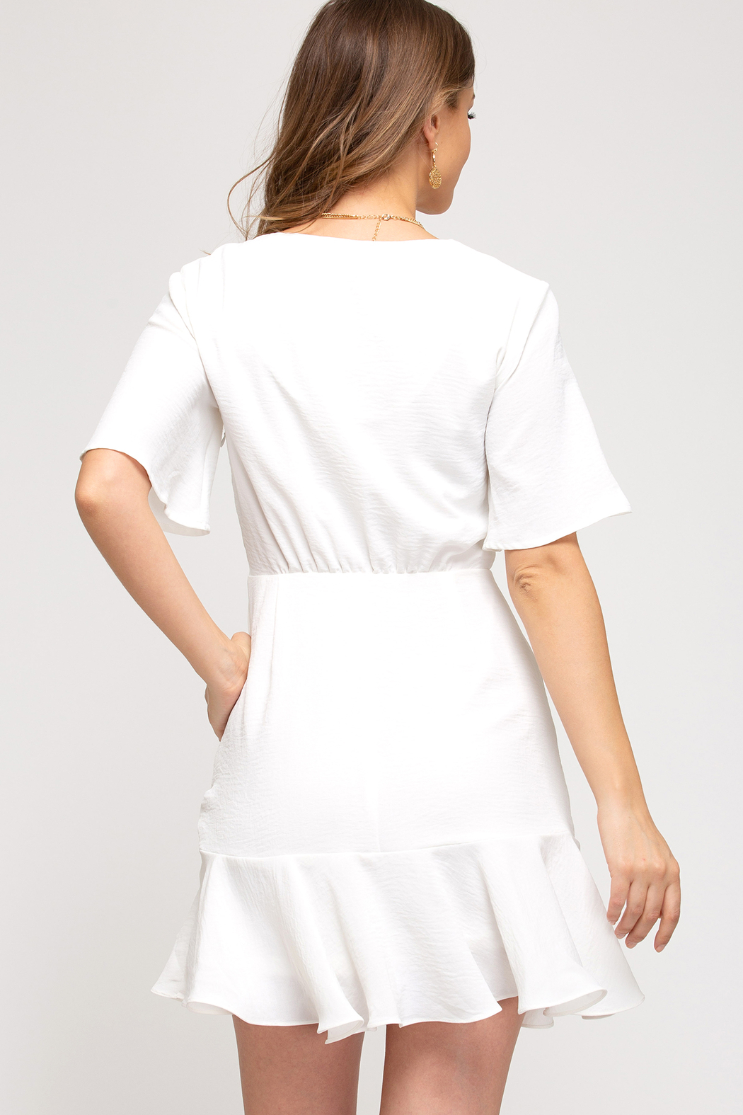 She and Sky Hyacinth Ruched Dress - Front Full Image
