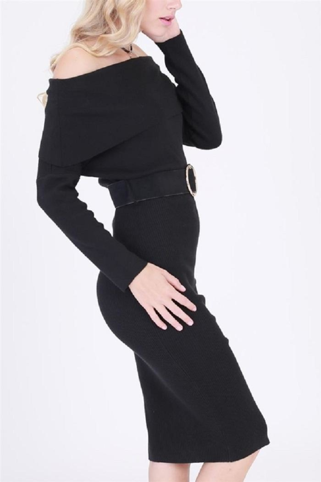 HYFVE Belted Sweater Dress - Side Cropped Image