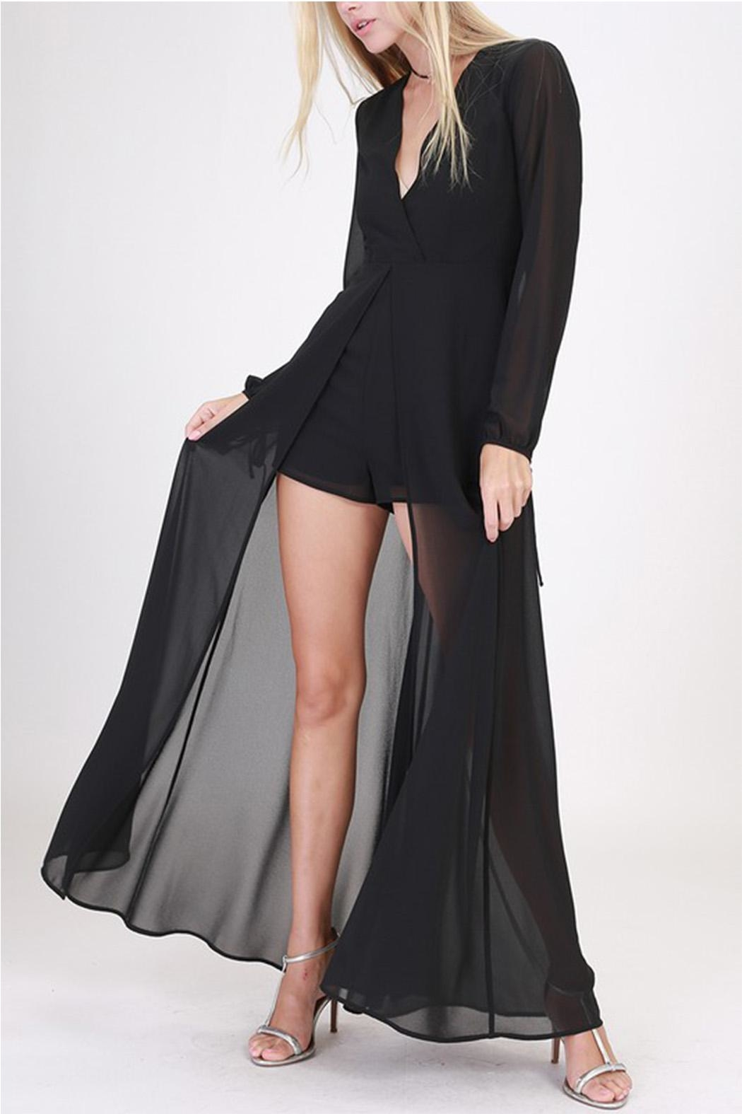 HYFVE Black Maxi Romper - Front Cropped Image