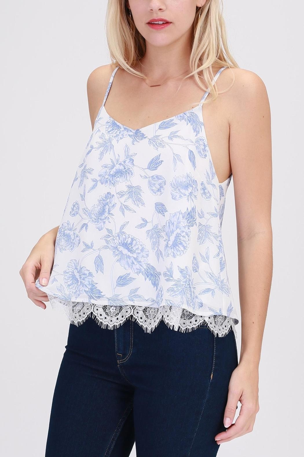 HYFVE Blue-Floral Perfection Top - Front Cropped Image
