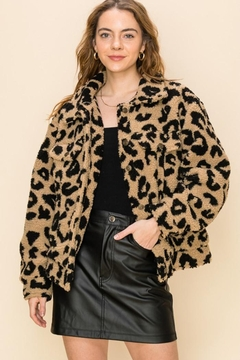 Shoptiques Product: Button Animal-Print Jacket