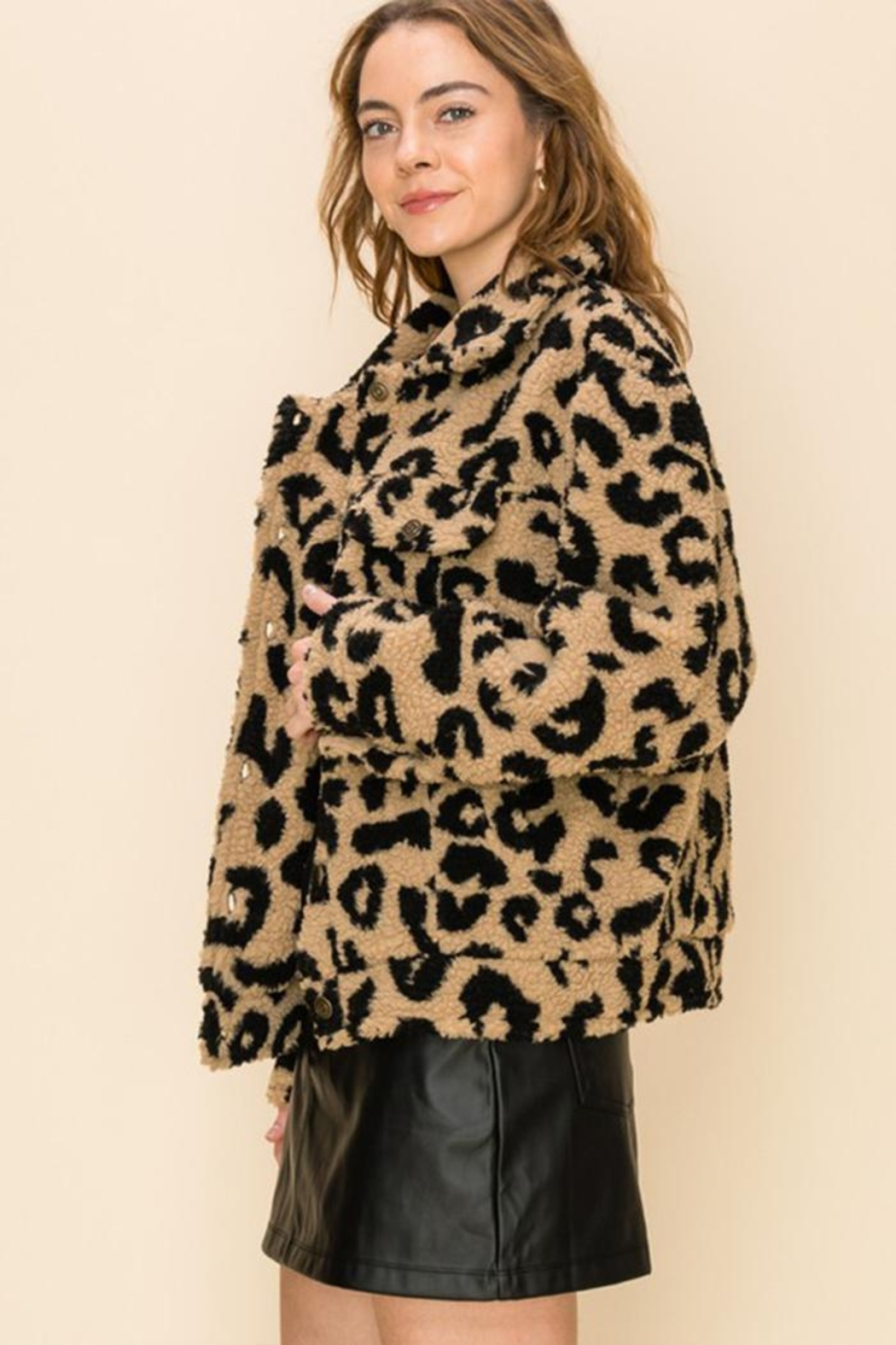 HYFVE Button Animal-Print Jacket - Front Full Image
