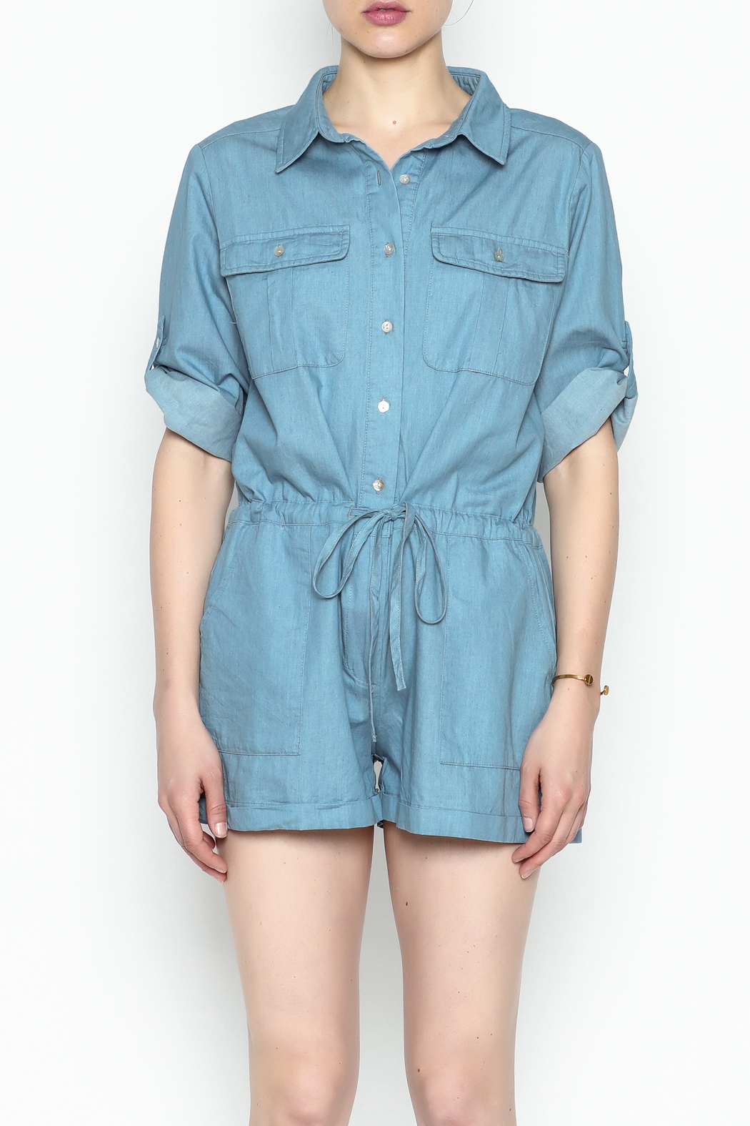 HYFVE Chambray Romper - Front Cropped Image