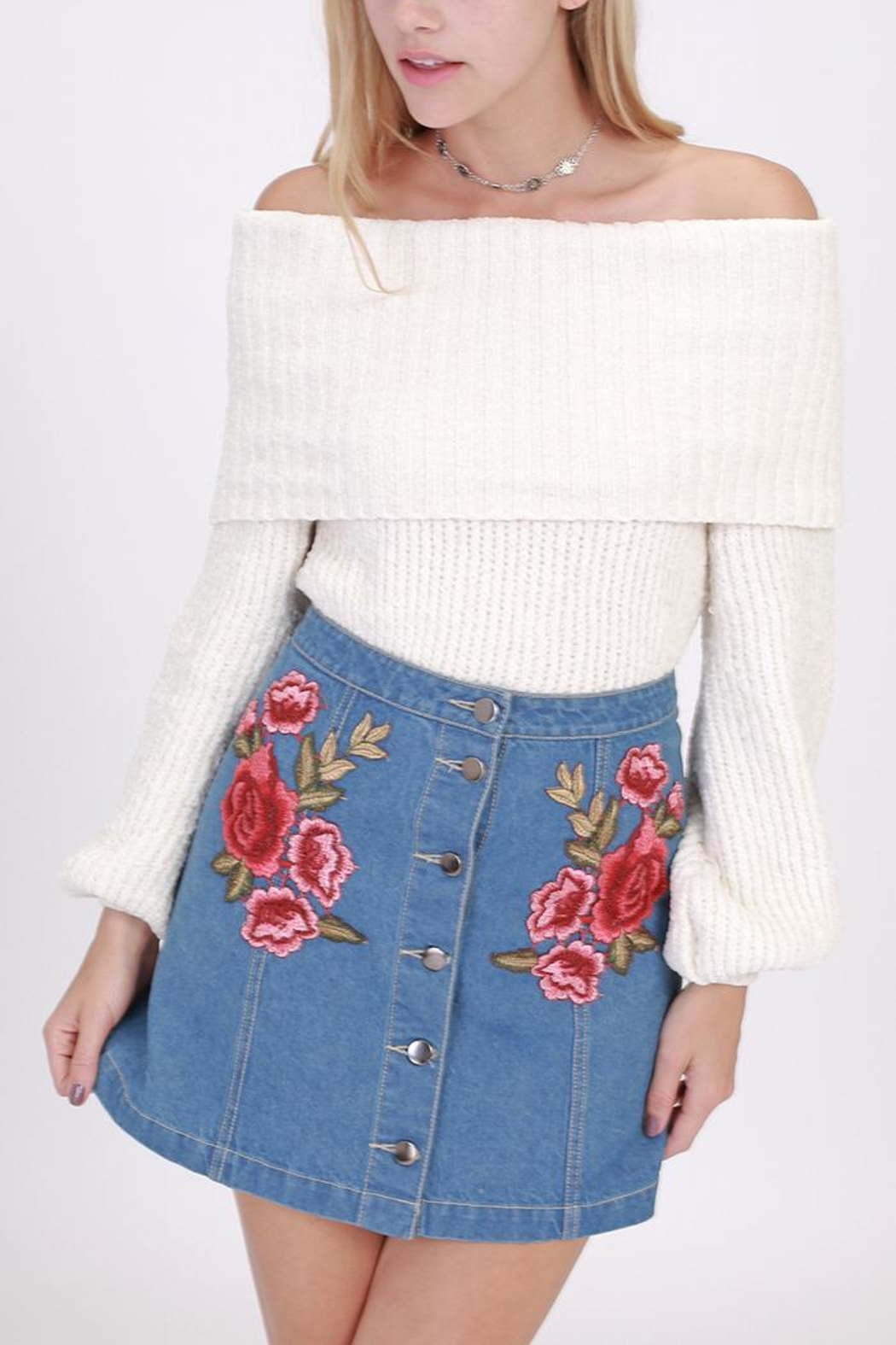 HYFVE Chenille Off-Shoulder Sweater - Front Cropped Image