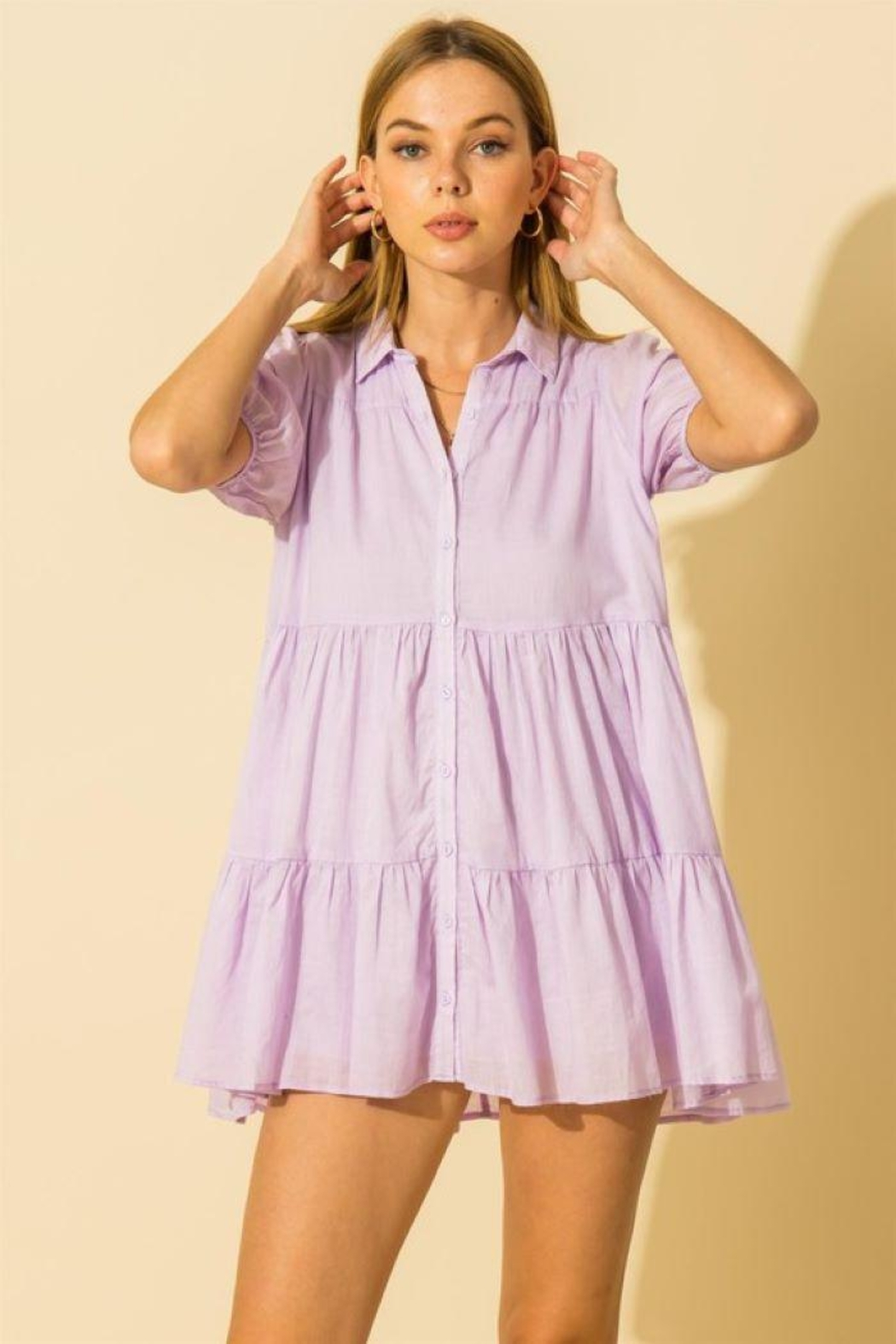 HYFVE Collared  Tiered Mini Dress - Front Cropped Image