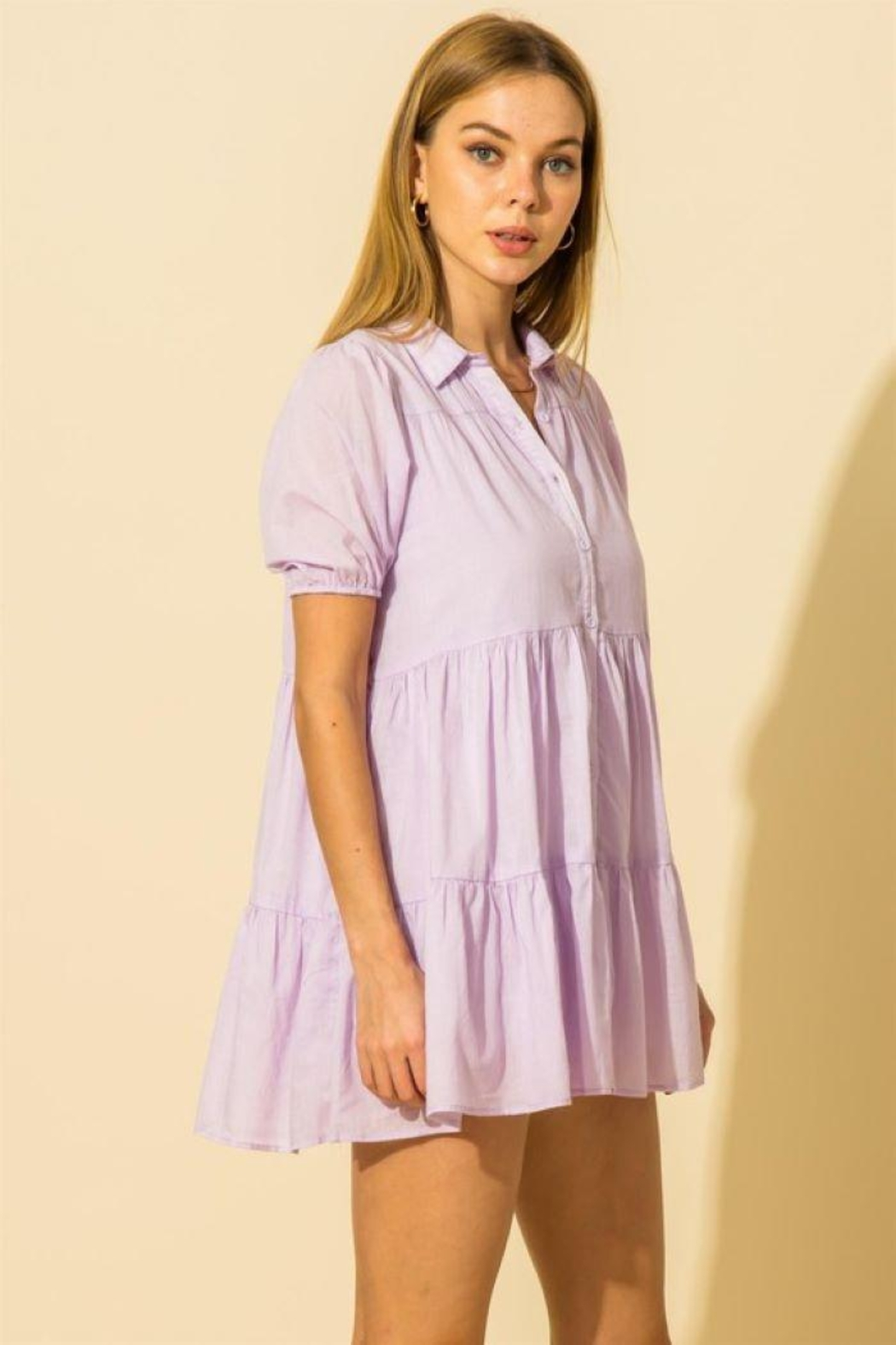 HYFVE Collared  Tiered Mini Dress - Back Cropped Image