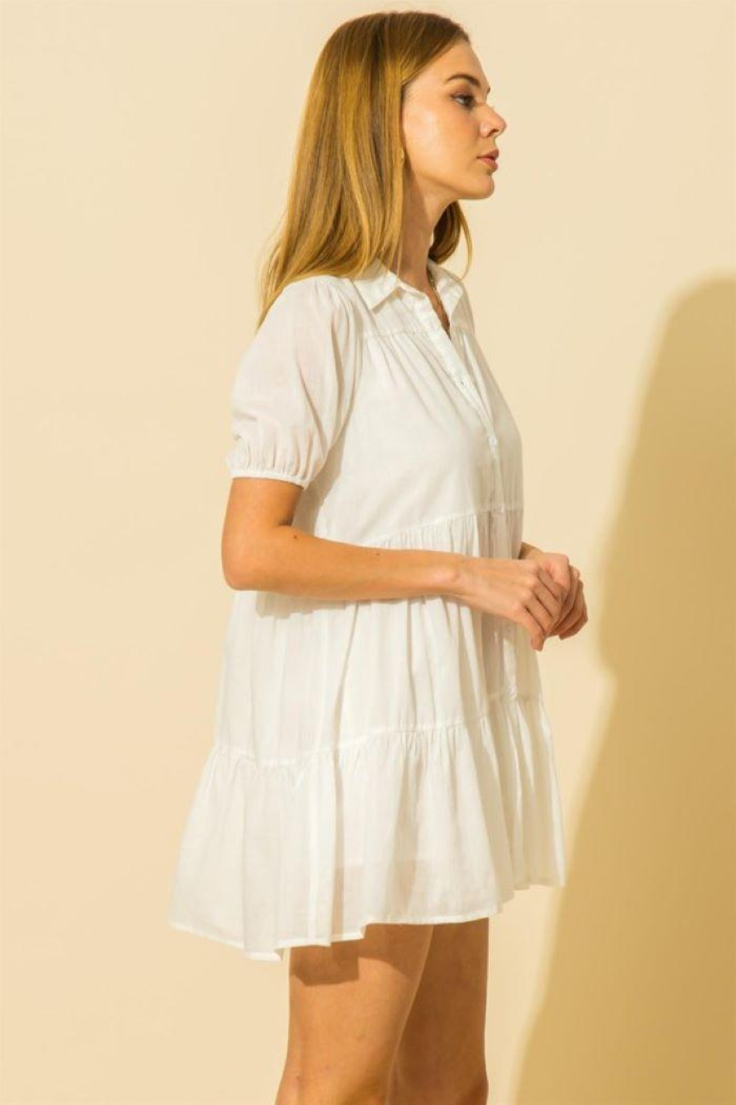 HYFVE Collared  Tiered Mini Dress - Side Cropped Image