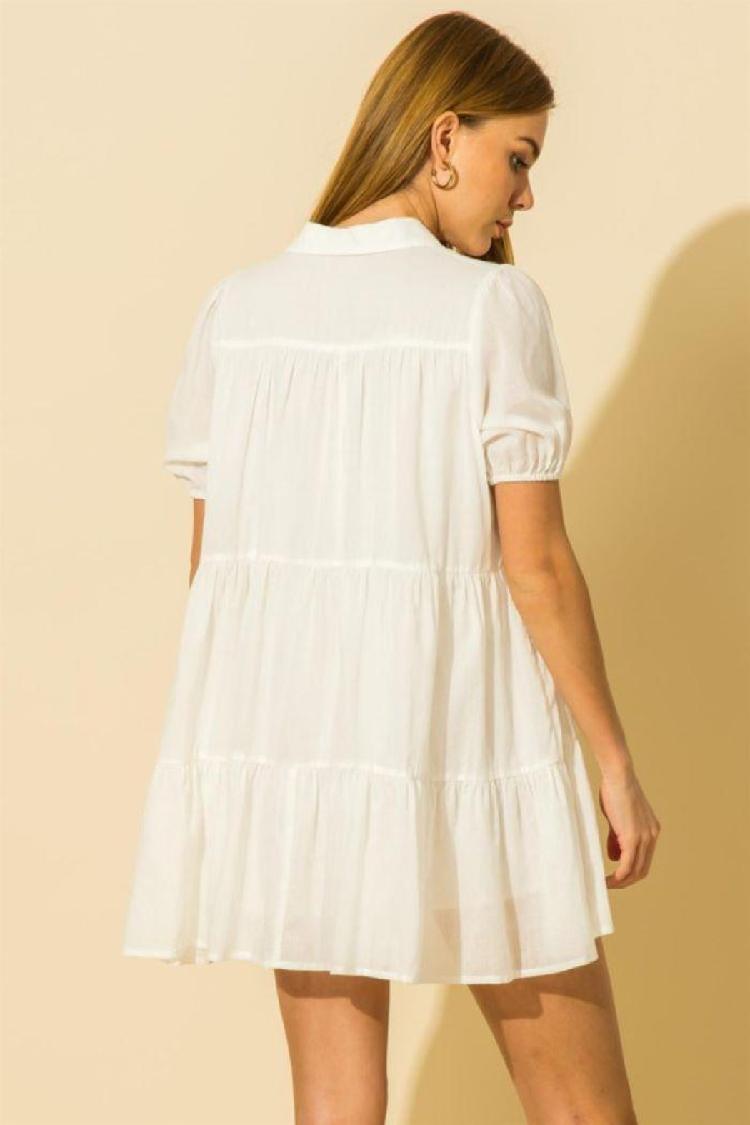 HYFVE Collared  Tiered Mini Dress - Front Full Image