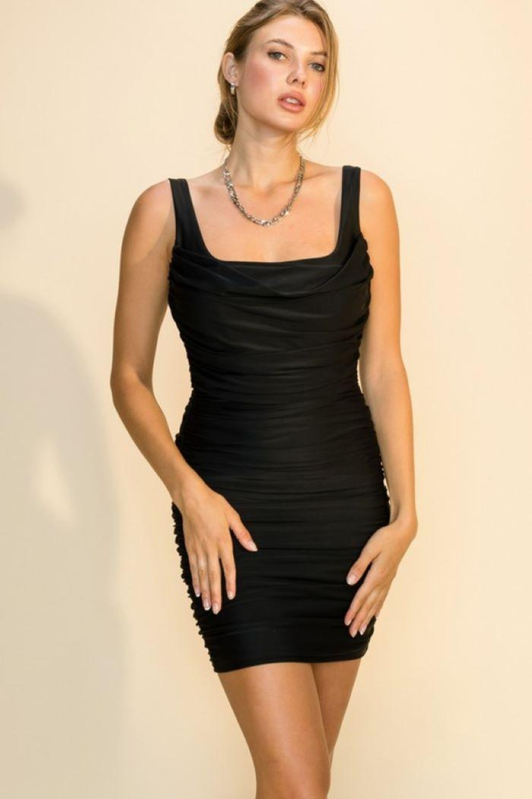 HYFVE Cowl Neck Side Zip Ruched Dress - Front Cropped Image