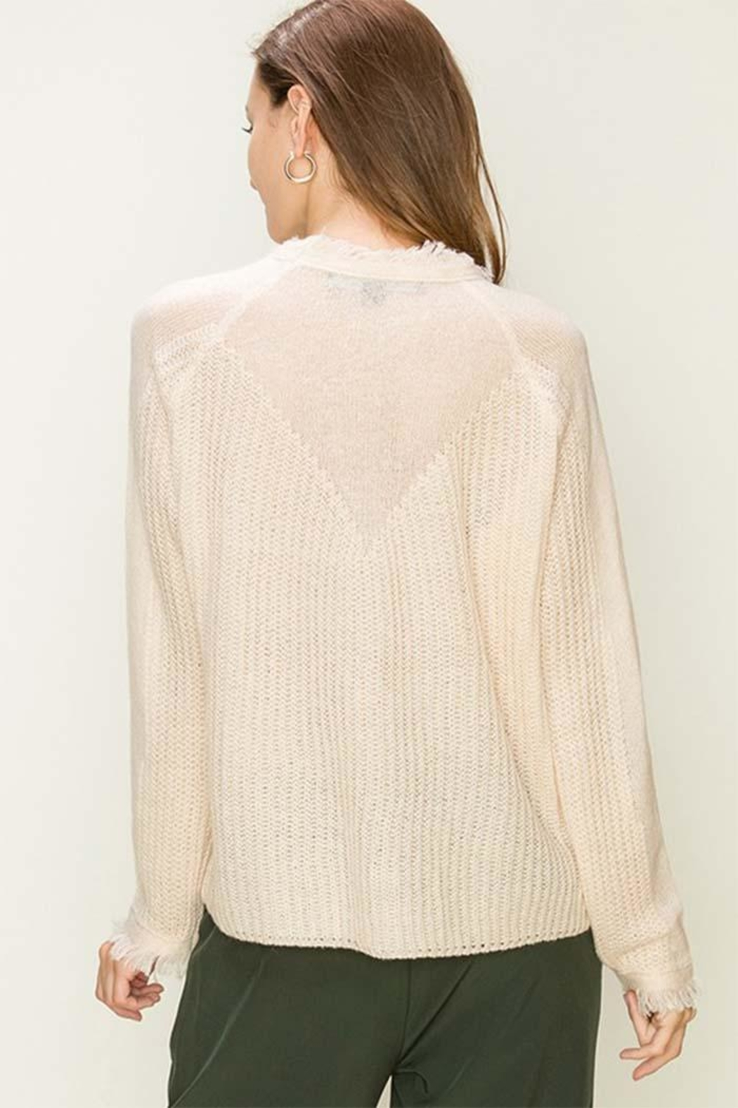 HYFVE Cream Distressed Sweater - Side Cropped Image