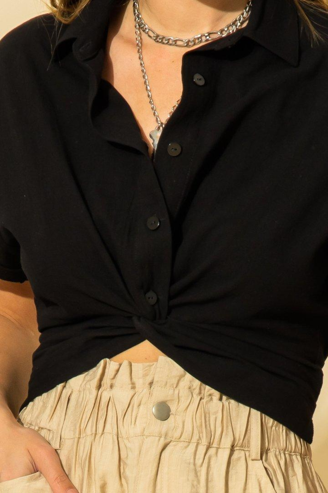 HYFVE Cropped Oxford Top - Front Full Image