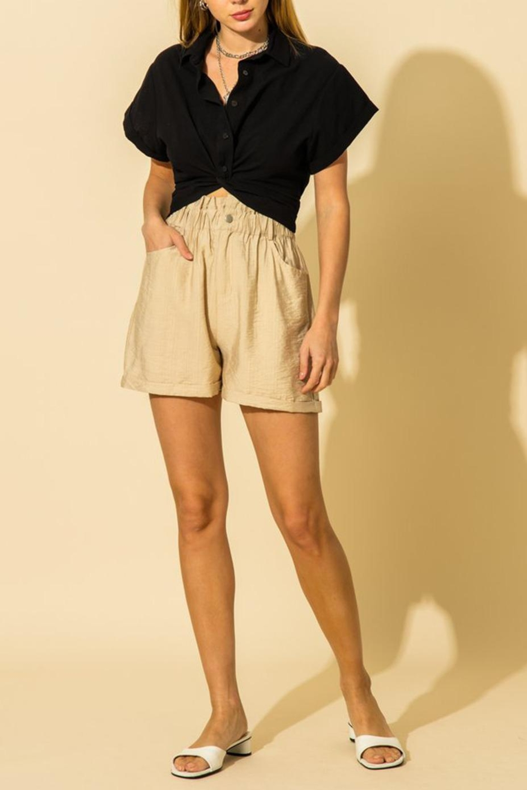 HYFVE Cropped Oxford Top - Main Image