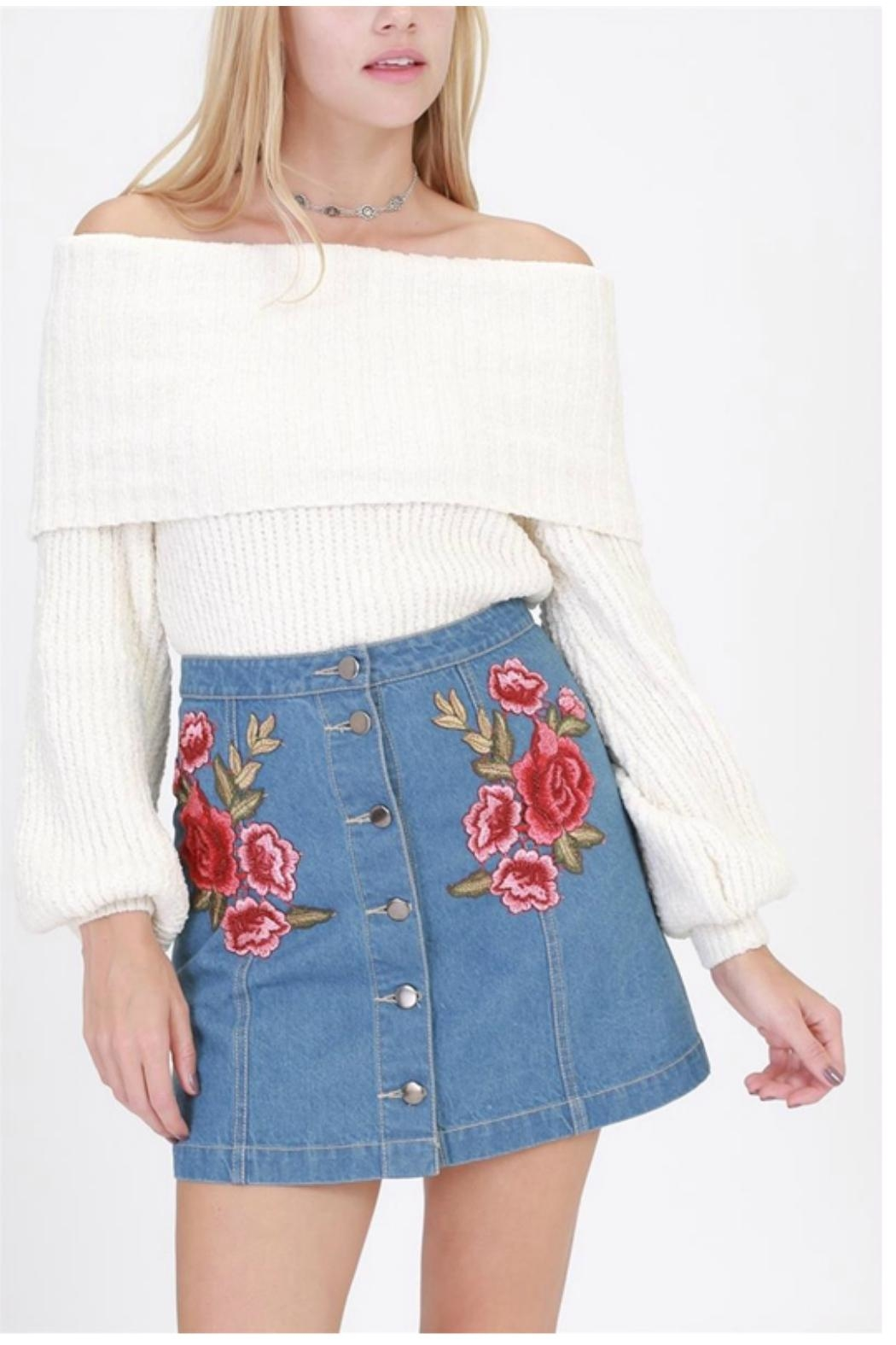 HYFVE Denim Embroidered Skirt - Front Cropped Image