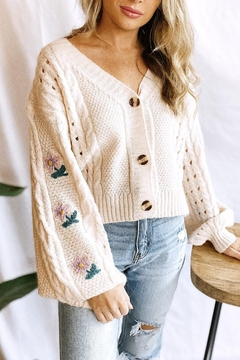 Shoptiques Product: Embroidred Flower Cardigan